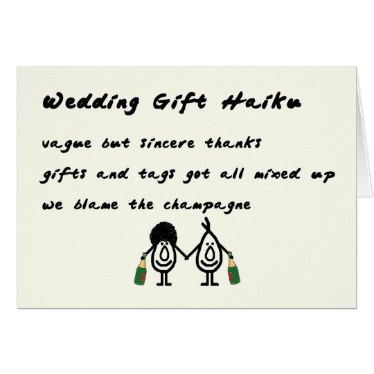 Wedding gift haiku a funny thank you poem card zazzle