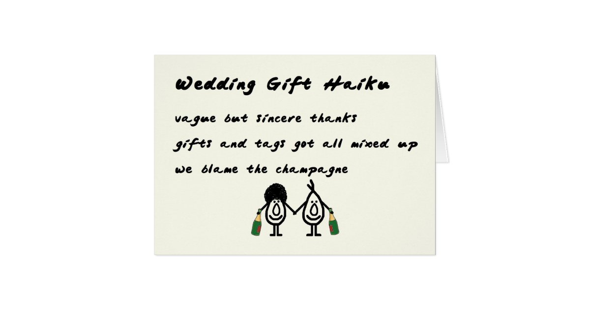 Wedding Gift Haiku - a funny thank you poem Card | Zazzle.com