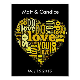 Wedding Gift I Do Love heart personalized poster