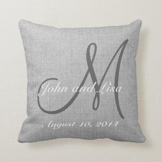 Wedding Gift Monogram Custom Faux Linen Pillow Zazzle Com