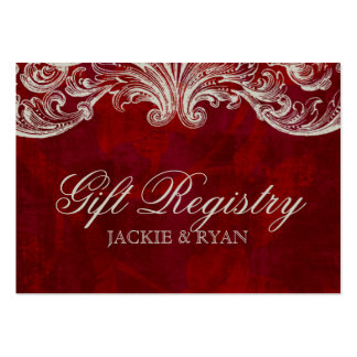 Wedding Gift Registration Card Antique Roses Red Large Business Cards (Pack Of 100)