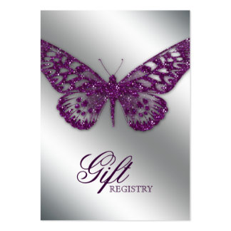 Wedding Gift Registration Card purple butterfly Large Business Cards (Pack Of 100)