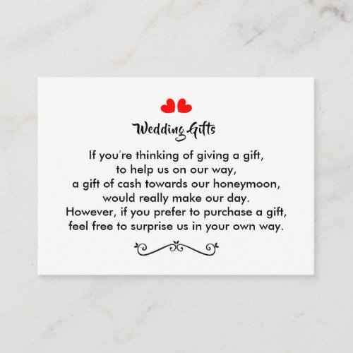 Wedding Gift Request Honeymoon Money Personalized Enclosure Card