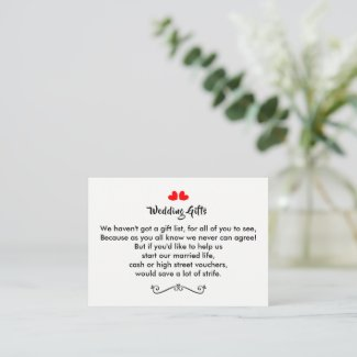 Wedding Gift Request Money Personalized Discount Card