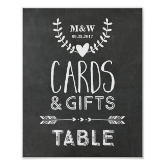 Wedding Gift Table Sign Chalkboard Hearts Arrows Poster