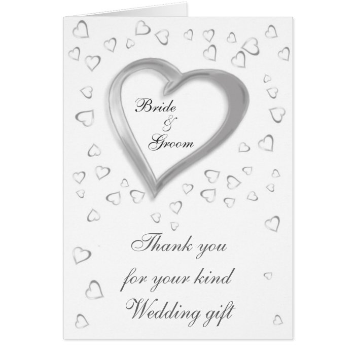 Thank You For Your Wedding Gift Cards : Wedding Gift Thank You card Zazzle