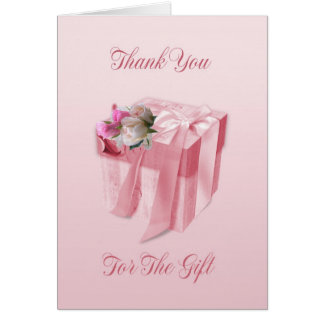 Wedding Gift Thank You Card - Pink Floral Gift Box