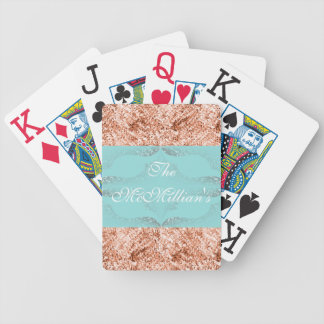 Wedding-Gift's_Aqua_Bronze Glitter-_Template*_Name Bicycle Playing Cards