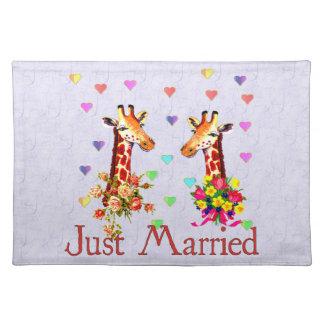 Wedding Giraffes Cloth Place Mat
