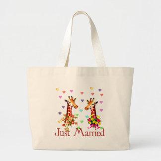 Wedding Giraffes Large Tote Bag