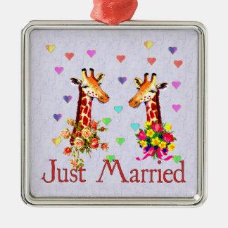 Wedding Giraffes Metal Ornament