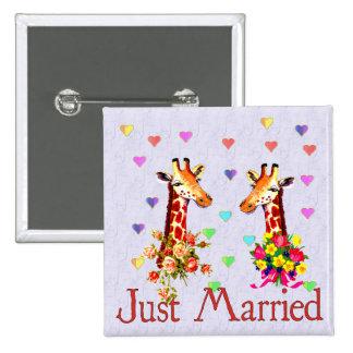 Wedding Giraffes Pinback Button