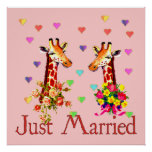 Wedding Giraffes Poster