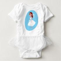 Wedding girl white blue baby bodysuit