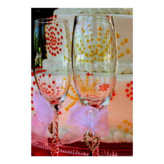 Wedding Glasses and Cake Poster