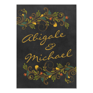 Wedding Gold Colorful Flowers Names Front Card