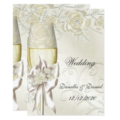 Wedding Gold Cream Pearl Floral Roses 2 Card