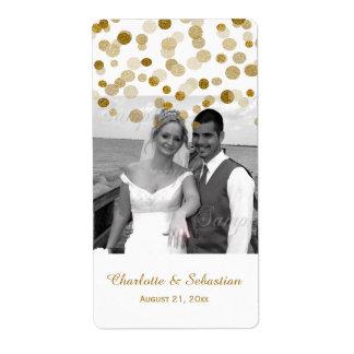 Wedding Gold Faux Glitter Dots Custom Label