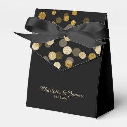 Wedding Gold Faux Glitter Dots Favor Box