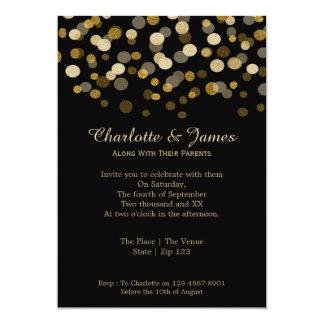 Wedding Gold Faux Glitter Dots Custom Invites