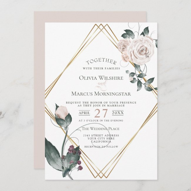 Wedding | Gold Frame Pale Pink Watercolor Roses Invitation