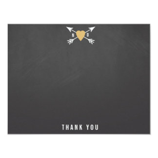 Wedding Gold Heart + Arrows Thank You Note Cards