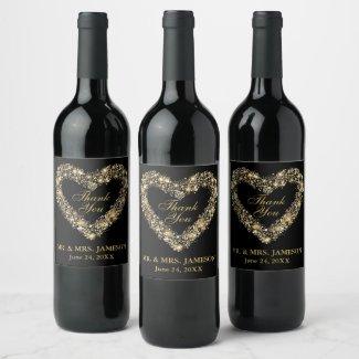 Wedding Gold Heart Wine & Champagne Bottle Labels