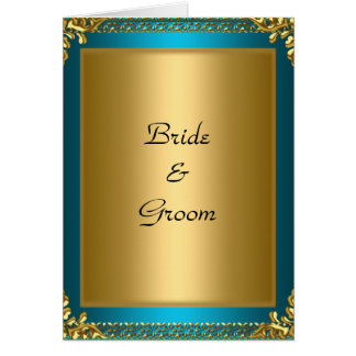 Wedding  Gold Teal Bride and Groom Greeting Card