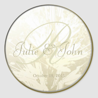 Wedding Golden Flowers Monogram - Sticker 2