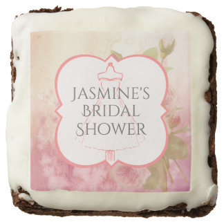 Wedding Gown and Roses Bridal Shower Chocolate Brownie
