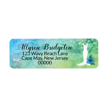 Wedding Gown Beach Themed Bridal Shower Label