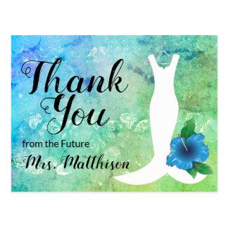 Wedding Gown Beach Themed Bridal Thank You Postcard