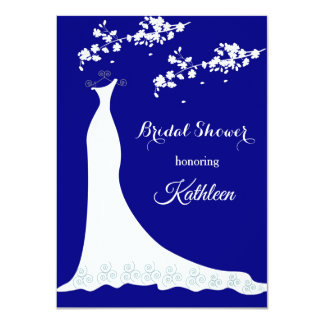 Wedding gown, blossom on navy blue, Bridal Shower Card