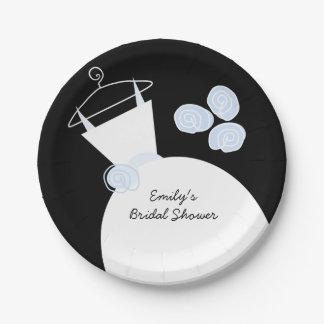 Wedding Gown Blue 'Bridal Shower' black Paper Plate