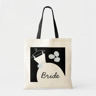 Wedding Gown Blue 'Bride' tote bag black