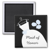 Wedding Gown Blue 'Maid of Honor' black Magnet