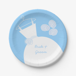 Wedding Gown Blue 'Names' paper plate