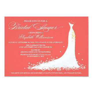 Wedding Gown Bridal Party Invitation (coral)