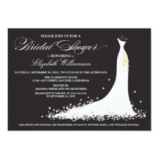 Wedding Gown Bridal Party Invitation (ebony)