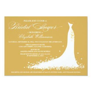 Wedding Gown Bridal Party Invitation (gold)