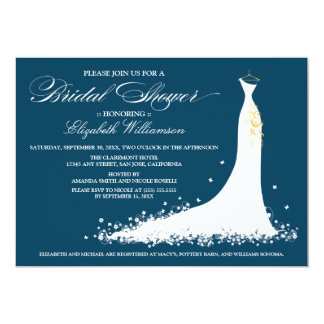 Wedding Gown Bridal Party Invitation (navy)