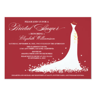 Wedding Gown Bridal Party Invitation (red)