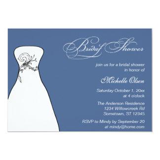 Wedding Gown Bridal Shower Blue Card