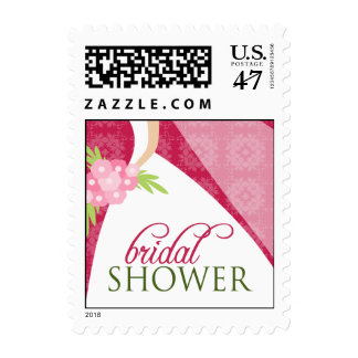 Wedding Gown Bridal Shower Invite Stamp_2 (pink) Postage