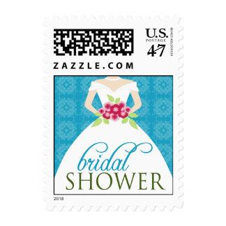 Wedding Gown Bridal Shower Invite Stamp (aqua)