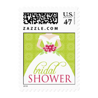 Wedding Gown Bridal Shower Invite Stamp (lime)