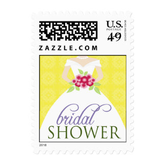 Wedding Gown Bridal Shower Invite Stamp (yellow)
