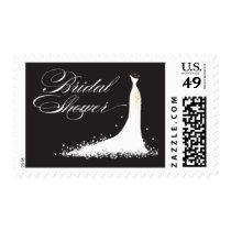 Wedding Gown Bridal Shower Stamp (black)
