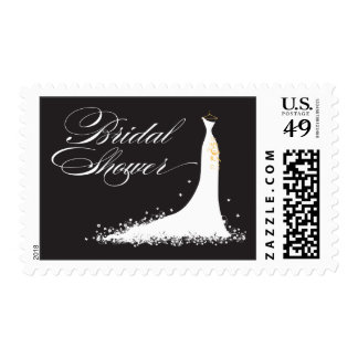 Wedding Gown Bridal Shower Stamp (black)