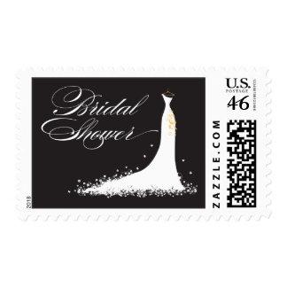 Wedding Gown Bridal Shower Stamp black